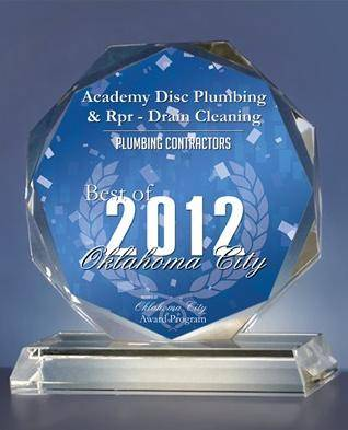 Academy Disc Plumbing & Rpr - Drain Cleaning Receives 2012 Best of Oklahoma City Award.