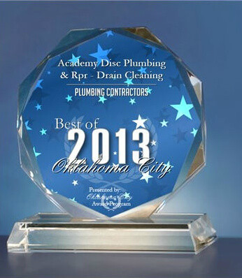 Academy Disc Plumbing & Rpr - Drain Cleaning Receives 2013 Best of Oklahoma City Award.